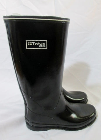 Womens TRETORN STOVEL Wellies Rainboots RAIN BOOTS BLACK 38 7.5 Puddle Jumpers