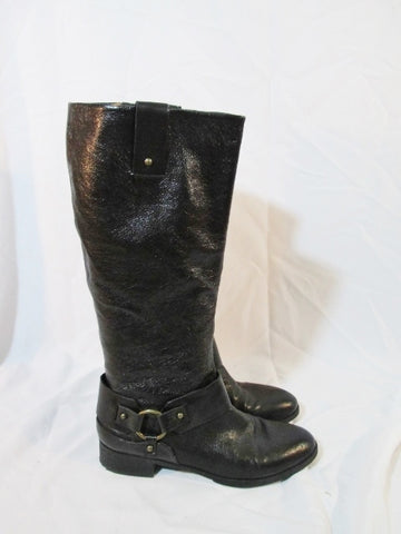 Womens NINE WEST Vaval Caria Moto Harness LEATHER Moto BOOT 10 BLACK
