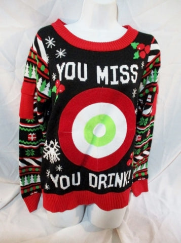 NEW NWT TIPSY ELVES DRINKING GAMES CHRISTMAS Holiday Sweater RED M