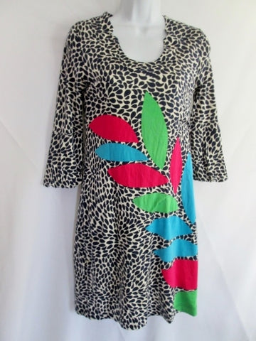 Womens LILLY PULITZER Clingy Spring Summer Dress XS BLACK WHITE ANT LEAF