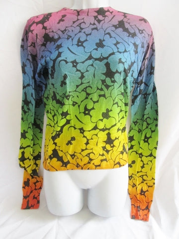 NEW NWT CHRISTOPHER KANE SILK Top Sweater S FLORAL RAINBOW Womens PRIDE