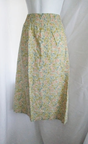 A.P.C. LIBERTY Cotton Midi SKIRT M FLORAL Pastel BLUE PINK GOLD CREME