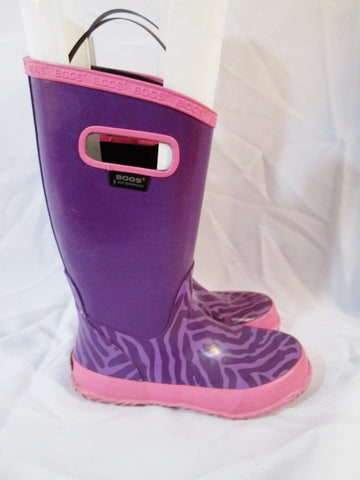 Kids Girls Youth BOGS WATERPROOF Wellies RAIN BOOT ZEBRA Rainboot PURPLE 2
