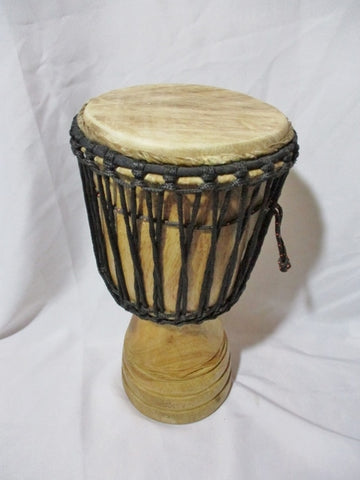 Handmade Wood DJEMBE Fur Skin DRUM Bongo PERCUSSION MUSIC Instrument Africa
