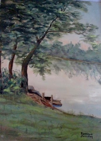 Vintage SIGNED 1960s FLORENCE JOHNSTON PAINTING ART Landscape River Tree Dock