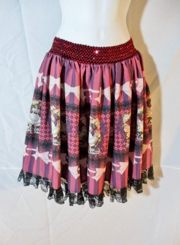 Womens ALICE IN WONDERLAND EAT ME Ruffle Skirt RED BLACK LACE