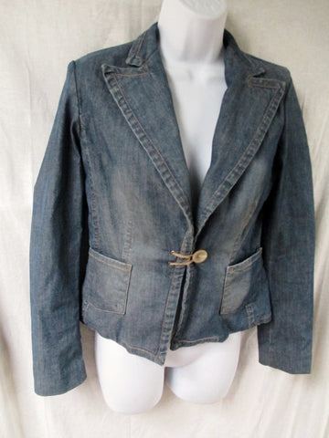 Womens BANANA REPUBLIC DENIM jean jacket Blazer Riding Coat BLUE 0 XS