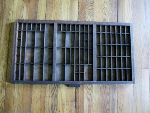 "Vintage 32"" HAMILTON Wood Printers Typeset Tray Letterpress Drawer Shadow Box Curio Cabinet"
