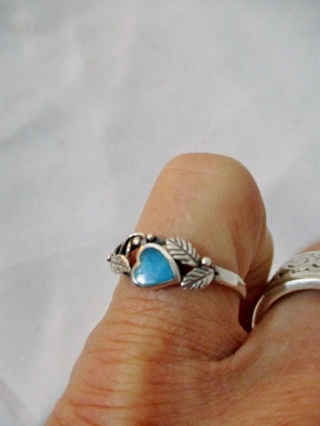 925 STERLING Silver Ring Sz 8 TURQUOISE BLUE HEART LEAF Love Jewelry