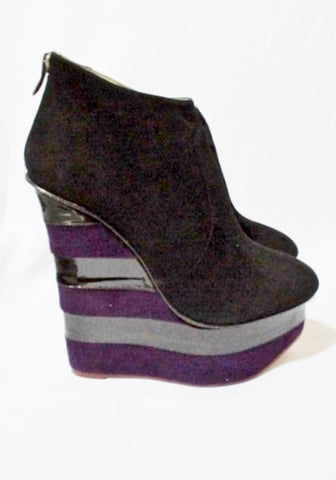 CHARLOTTE OLYMPIA BOWIE STRIPE WEDGE Bootie Shoe 36.5 6 BLACK Purple Platform