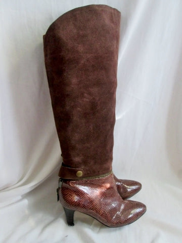 Womens MISS TINA Knee High LEATHER CONVERTIBLE BOOT Booties Suede BROWN 7