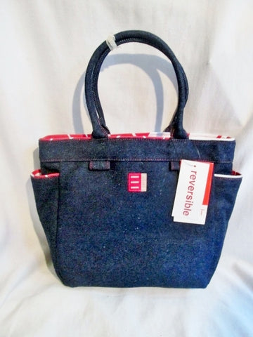 NEW ESPRIT QUICK CHANGE JEAN DENIM Reversible Tote Handbag Satchel BLUE RED NWT