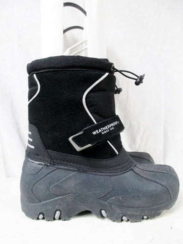 Boys Girls WEATHERPROOF Insulated Waterproof Rain Snow Boots Winter BLACK 4 Kids