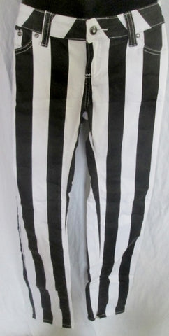 Womens KLIP JEANS Stripe Gangsta Jailbird PANTS BLACK WHITE 7 Hip hop Dungarees