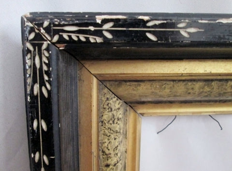 "Antique 14"" x 16"" Shell Inlay Rustic Folk Art Wood Picture Painting Frame BLACK GILT"