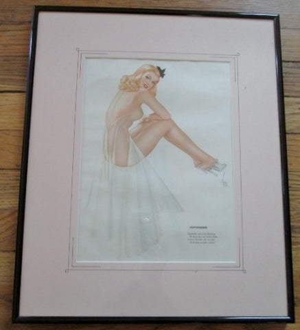 Vintage 1940s Alberto Vargas COVER GIRL Pinup Girl ART Print MISS SEPTEMBER Pin-Up