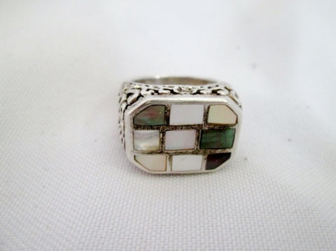 Signed CM 925 Sterling Silver Ring MOSAIC STONE SHELL Geometric Size 8 Statement Jewelry