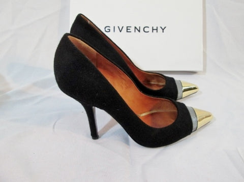 GIVENCHY WOOL MESH Stiletto Heel Pump Shoe 36 6 BLACK SILVER GOLD Womens