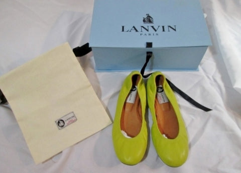 NEW Womens LANVIN PARIS Leather Ballet Flat Shoe 36.5 / 6 YELLOW Slip-on