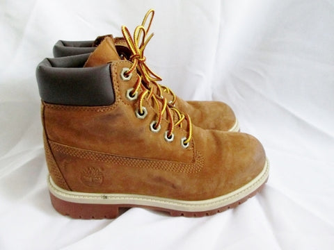 "Junior Boys TIMBERLAND 6"" PREMIUM Boot Leather 3.5 WHEAT NUBUCK BROWN"