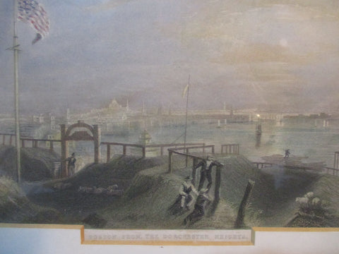 Antique BOSTON FROM DORCESTER HEIGHTS LITHOGRAPH ART Print Picture