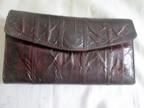 Vtg EEL Leather Wallet Organizer Photo Holder Change Purse BURGUNDY RED BROWN