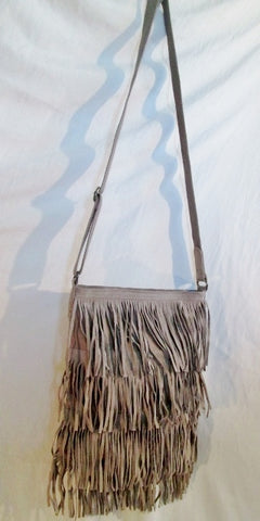 NEW AMERICAN EAGLE OUTFITTERS AEO fringe leather shoulder bag BROWN TAUPE X-body