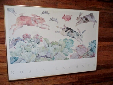 SIGNED ROBIN ESCHNER HARE HEAVEN Bunny Rabbit WATERCOLOR ART Frame Print