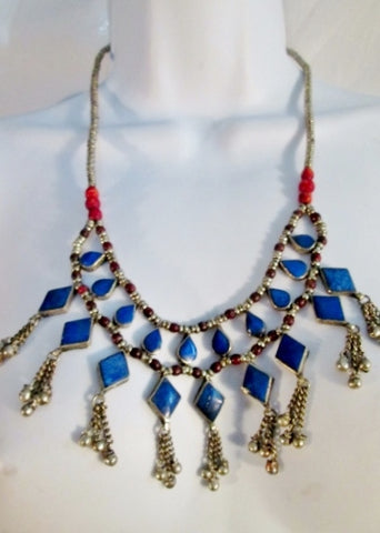 LAPIS LAZULI Inlay Tier Dangle Runway Ethnic NECKLACE TRIBAL Bib CLEOPATRA Style