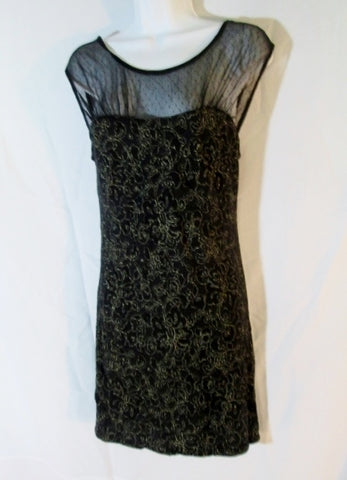 Womens FREE PEOPLE ANTHROPOLOGIE Mini Dress M Lace BLACK GOLD