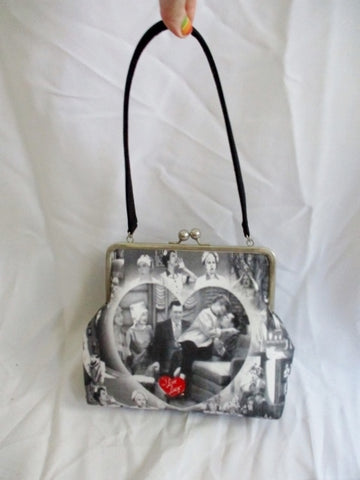 I LOVE LUCY TV Show Vintage Television Satchel Shoulder Bag WHITE BLACK purse