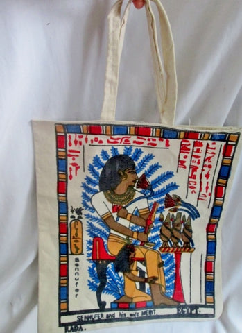 SENNUFER MERIT Canvas Tote Beach Bag Carryall Vegan HIEROGLYPHIC EGYPT