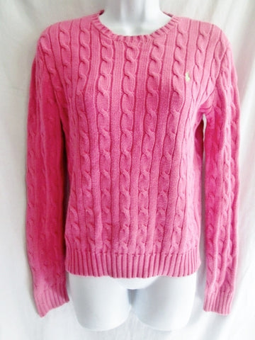 Womens RALPH LAUREN Crewneck Cable Knit Top Sweater S PINK BUBBLE GUM