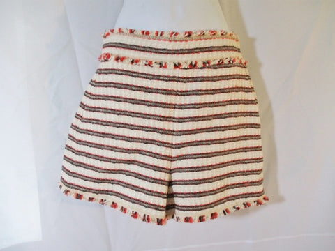 NEW ZARA WOMAN Mini Shorts Striped WHITE BROWN PINK Fringe S Boho