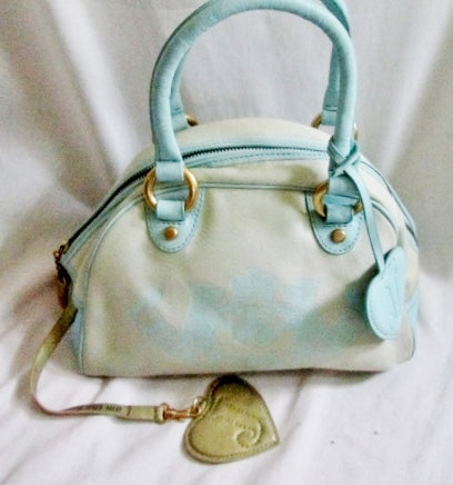 JUICY COUTURE Mini Bowler Medical Bag Satchel Leather Cloth Duffle Powder Blue