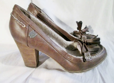 Womens MY COOLWAY ROOTS OWL Lined High Heel Moc Loafer PUMP Brown 9.5
