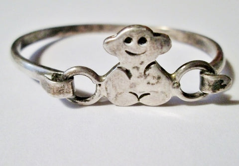Signed 925 STERLING SILVER MONKEY BABY CHILD Bracelet Cuff Bangle MEXICO