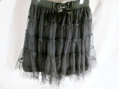 Youth Teen Junior Girls BETSEY JOHNSON Mini Skirt 16 BLACK Party Ruffle Statement