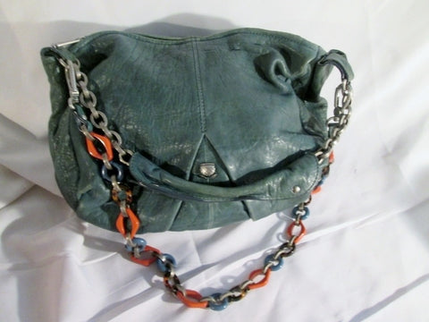 NAVYBOOT Pebbled Leather Satchel Purse Bag Hobo Stud GREEN Bucket Slouch Sling