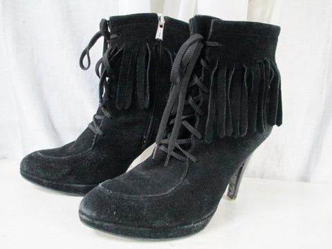Womens JEFFREY CAMPBELL IBIZA FRINGED SUEDE Leather Ankle BOOTS Shoes BLACK 9