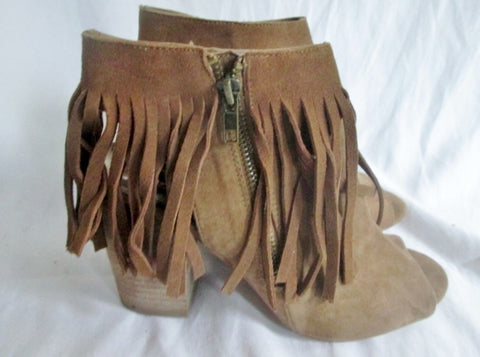 Womens CARLOS SANTANA PEEP TOE High Heel Shoes Sandals 8.5 Leather BROWN FRINGE JASPER
