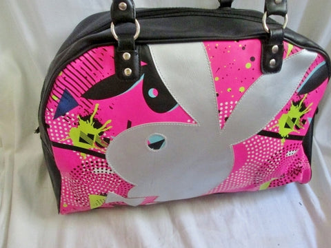 PLAYBOY BUNNY Signature Vegan Duffle Bowler Tote Satchel Gym Shoulder Travel Bag BLACK PINK MULTI
