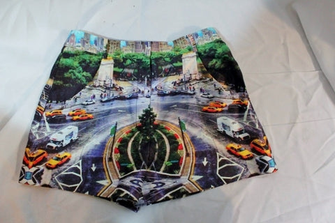Womens MILLY Summer Booty Mini SHORTS Cityscape Road Car XS Boho Colorful