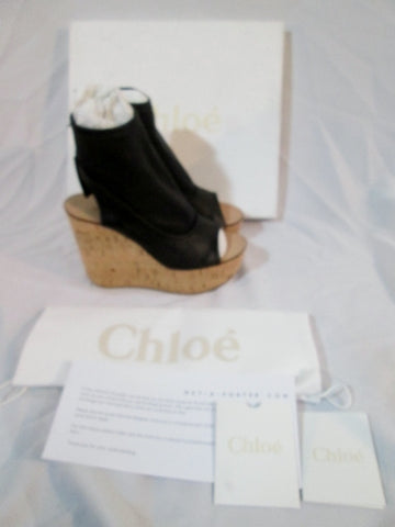 NEW CHLOE NAPPA LAMB Leather Cork Wedge Sandal 36.5 6 Shoe BLACK Womens