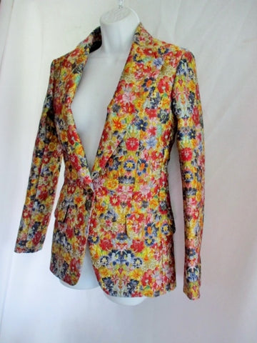 New NWT CELINE FRANCE Blazer Jacket Coat 38 6 FLORAL GOLD