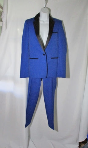 NEW NWT CELINE ITALY Set BLAZER Pantsuit 36 / 38 S BLACK BLUE Formal