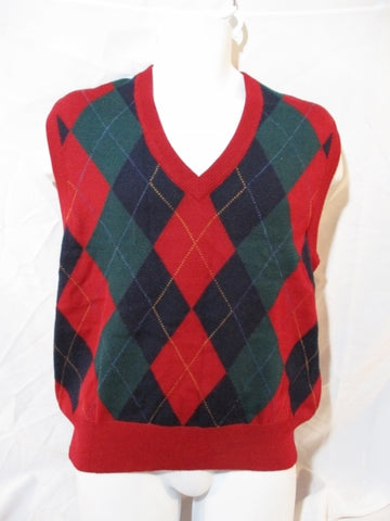 Mens TRICOTS ST. RAPHAEL SAKS FIFTH AVENUE ARGYLE Vest M RED Wool Sleeveless Sweater M Wool RED