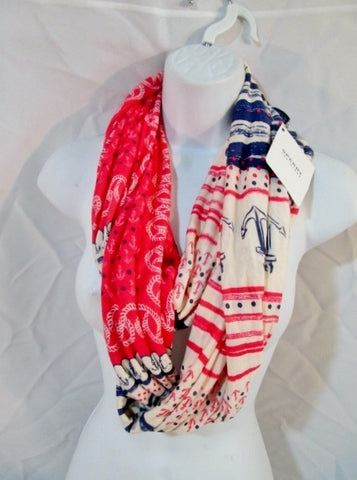 NEW SPERRY TOP-SIDER Infinity NECK SCARF RED WHITE BLUE ANCHOR Nautical NWT