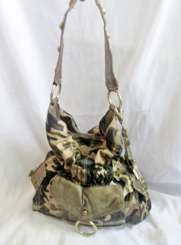 KATHY VAN ZEELAND vegan hobo saddle shoulder bag satchel sequin CAMO MILITARY GLAM