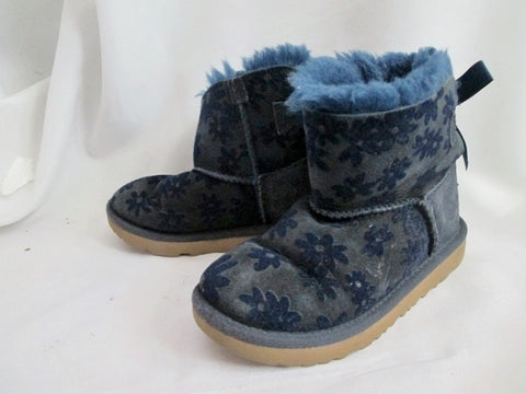 Toddler Kids UGG 1091969T MINI BAILEY BOW FLOWERS SUEDE Boot 11 BLUE Girls